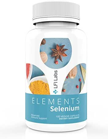 Selenium Supplement for Thyroid Support Function & Thyroid Hormone Metabolism – 200mcg High Absorption Selenomethione – LFI Labs - 100 Vegetable Capsules