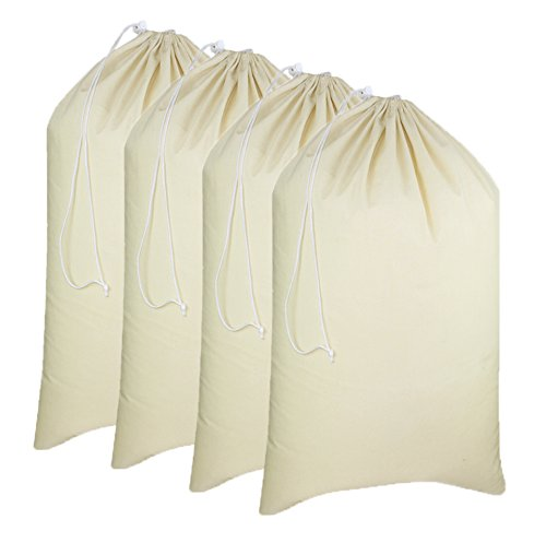 Cotton Craft - 4 Pack Extra Large 100% Cotton Canvas Heavy Duty Laundry Bags - Natural Cotton - 28