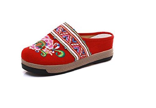 Lazutom Para Red Zapatillas Lona Por De Mujer Casa Estar SArgpSvwq