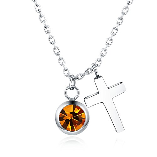 - Vinjewelry Friendship Cross Necklace Birthstone Created-Topaz Charm Pendant for Women 16