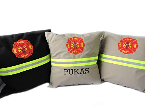 Firefighter Embroidered Pillow COVER with Maltese Cross, Option to Personalize with Embroidered Name, Bunker Gear Look