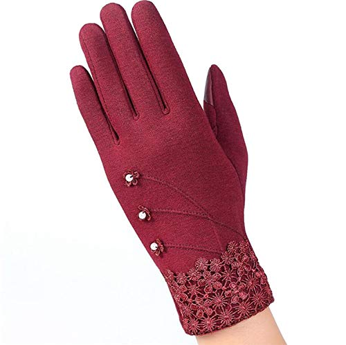 The rest of my life Womens Outdoor Cashmere Gloves Autumn Winter Female Warm Inverted Mitten Cotton Wrist Screen Glove Solid Woman Wool Glove,G145 016D Claret]()