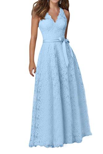 Promgirl House Anmutig A-Linie V-Ausschnitt Spitze Cocktail Ballkleider Abendkleider Kurz Hellblau Lang oH8tFauOH