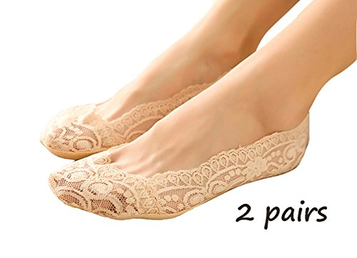 Huitao New Women Cotton Lace Antiskid Invisible Liner No Show Peds Low Cut Socks (2 pairs, Nude)