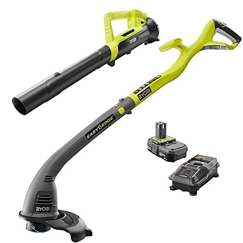 Ryobi One ONE+ 18-Volt Lithium-Ion String Trimmer/Edger and Blower Combo Kit 2.0 Ah Battery and Charger -