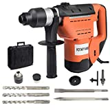 Goplus SDS Rotary Hammer, 1-1/2'' Electric Rotary Hammer Drill with Vibration Control, 3 Drill Functions, Plus Demolition Bits, Includes 3 Drill Bits,Point and Flat Chisel with Case
