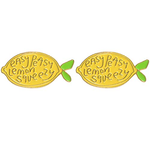 Charmart Easy Peasy Lemon Squeezy Lapel Pin 2 Piece Set Yellow Lemon Enamel Brooch Pin Badges Gifts