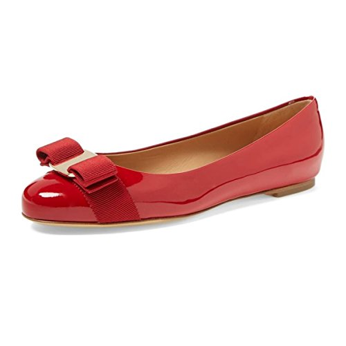 Patent Ballerina Pumps (FSJ Women Cute Bowknot Round Toe Ballet Flats Slip On Casual Office Comfy Pumps Shoes Size 11 Red-Patent)