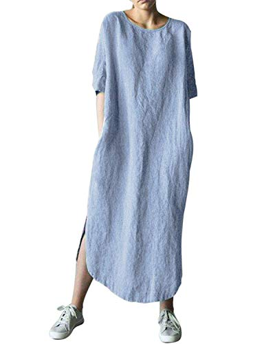 AUDATE Women's Linen Loose Summer Large Size Long Dress Plus Size Cotton Clothing Light Blue M (Sleeve Kaftan)