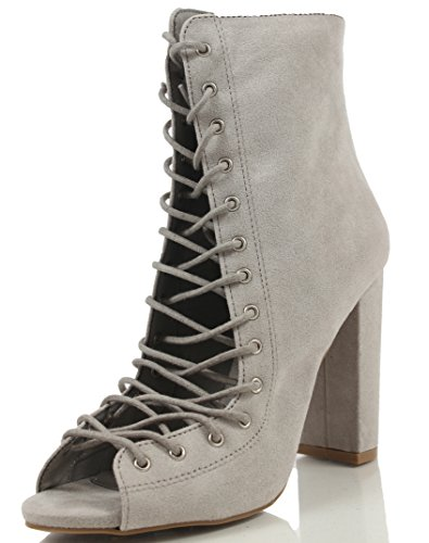 Wild Diva Women's Faux Suede Open Toe Corset Lace Up Tie Chunky Heel Ankle Bootie