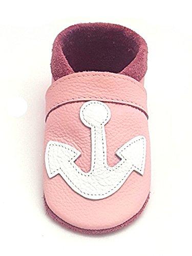 little foot company® 724 Krabbelschuhe Babyschuhe Lauflernschuhe Anker weiches Leder rosa 20/21 ca. 1 1/2 - 2 Jahre