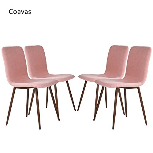 Set of 4 Dining Chairs Coavas Fabric Cushion Kitchen Chairs with Sturdy Metal Legs for Dining Room, Pink (Replica Table Outdoor Furniture)
