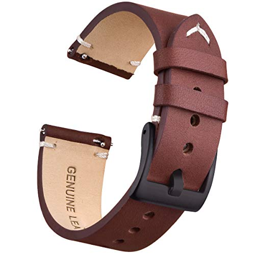 22mm Genuine Leather Watch Bands Quick Release Leather Watch Straps Compatible with Fossil Watch for Men