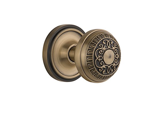 Nostalgic Warehouse Classic Rosette with Egg & Dart Door Knob, Single Dummy, Antique - Antique Hardware Classic Brass