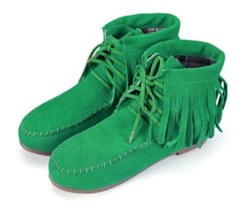 Ankle Fringe Green DADAWEN Tassels Boots Women's Biker Up Moccasins Lace xZYgqa