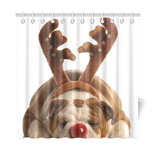 WHIOFE Home Decor Bath Curtain Rudolph Red Nosed Bulldog Polyester Fabric Waterproof Shower Curtain for Bathroom, 72 X 72 Inch Shower Curtains Hooks Included