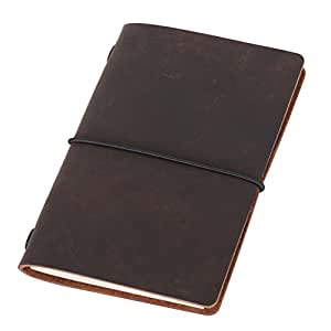 Field Notes Cover - Dotted Leather Journal 3.5 x 5.5 Travelers Notebook (64 Pages | Pocket Size | Refillable | Dark Brown)