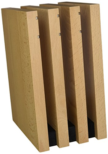 Artelegno Magnetic Knife Block Solid Beech Wood 4 Panel, Luxurious Italian Milano Collection by Master Craftsmen Displays Blades up to 9 Knives Elegantly, Eco-friendly, Natural Finish Black Accents (Milano Collection Storage)