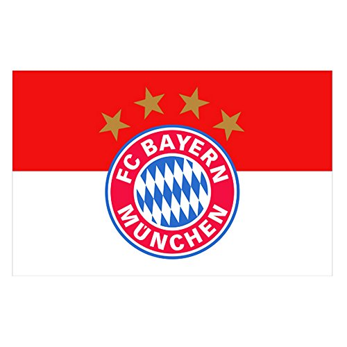 FC Bayern Munich Official Football Crest Supporters Flag (One Size) (White/Red)