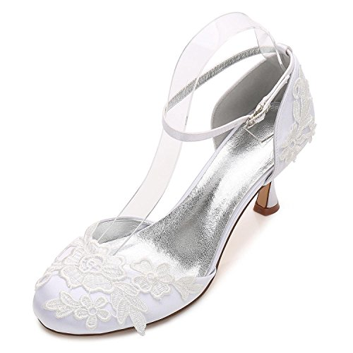 L@YC Women Wedding Shoes D17061-7 Bridesmaid Low Heel Flower Corsage Satin Buckle Close Toes White