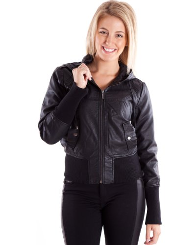 Ladies Black Synthetic Hooded Leather Jacket - Rose Tyler Costume