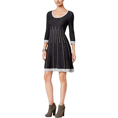 Nine West Women's 3/4 SLV Crew Neck Double Jacquard Fit and Flare Dress, Black/Light Grey Heather, L (Sweater Dress Jacquard)