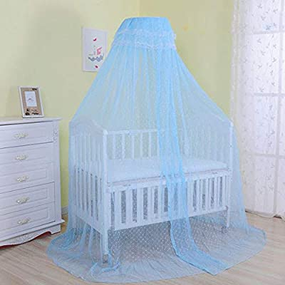 Pesp Baby Infant Toddler Bed Dome Cots Mosquito Netting Hanging Bed Net Mosquito Bar Frame Palace-style Crib Bedding Set (Blue+Stand)