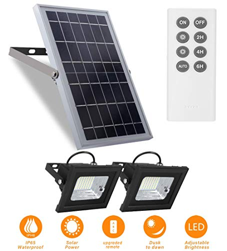 """Solar Flood Lights Outdoor Dusk to Dawn Remote Control 10W 6V 13.6""""x 9.3"""" Solar Panels Lights with 800LM Dual 64LED 6500K Bright White Floodlights Ip65 Waterproof Solar Power Lamp for Sign,Shed,Barn"""