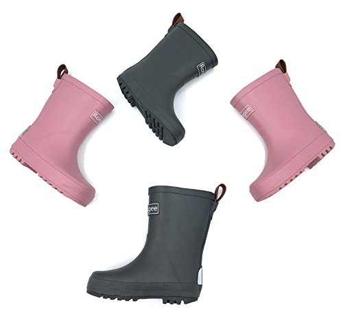 Toddler Rain Boots Rubber Little Kids Girls Boys with Light Reflector for Safe Oxford Bag Packed