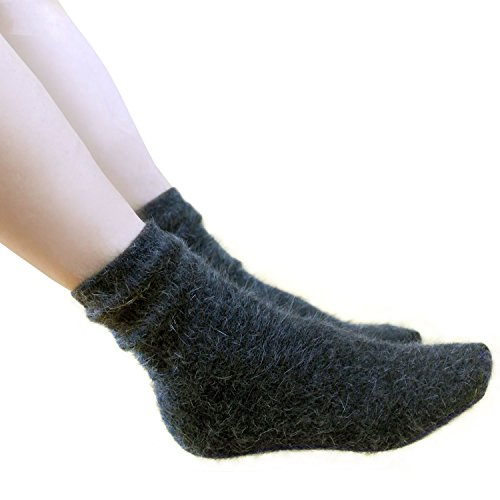 Angora Wool Socks - Walkon Women's Angora Pure Socks - In Gift Bag Walkon Brand,Charcoal (2pair),5-8
