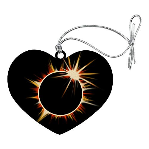 l Solar Eclipse Painted Heart Love Wood Christmas Tree Holiday Ornament ()
