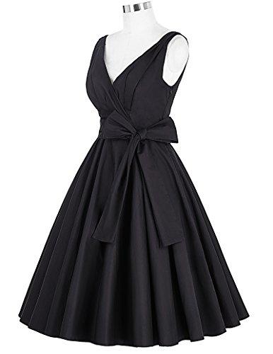 GRACE KARIN 50er Jahre Kleid Rockabilly Vintage V Ausschnitt Cocktailkleider Gürtel kleid Cl8955-1(schwarz) PdEjH