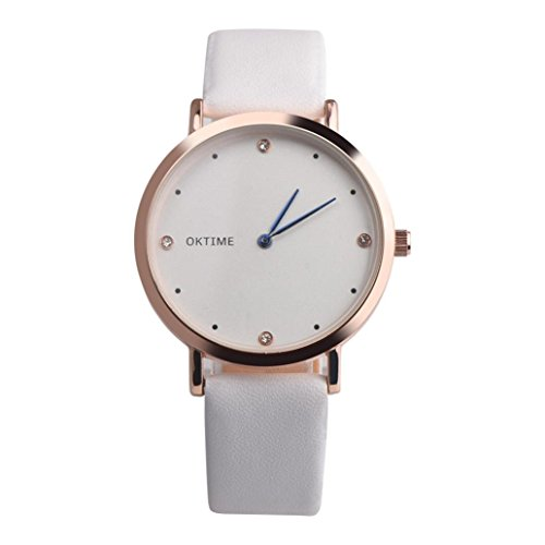 YRD Tech Candy Colored Lady's Watch-Retro Rainbow Design Leather Band Analog Alloy Quartz Wrist Watch with Crystal Diamond (White) - 24 Diamond White Dial