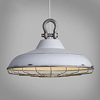 SUSUO 18 Wide Barn Pendant Light Fixtures Retro Rustic Warehouse Shade Hanging Ceiling Lighting with Wire Cage,White