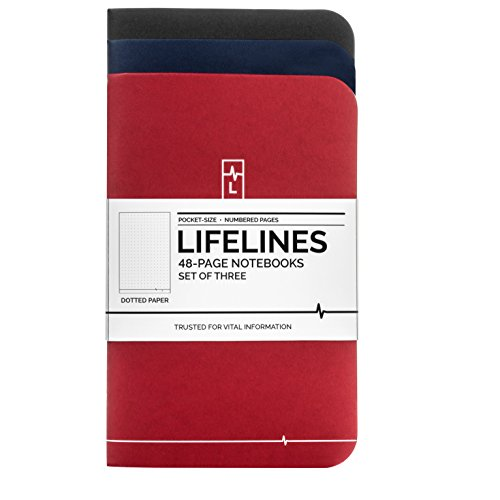 Lifelines Small Pocket Dotted Notebook | Mini Bullet Journal for To-Do Lists, Memos, Sketches | Numbered Dot Grid Pages 3.5 x 5.5 inches (Pack of 3)