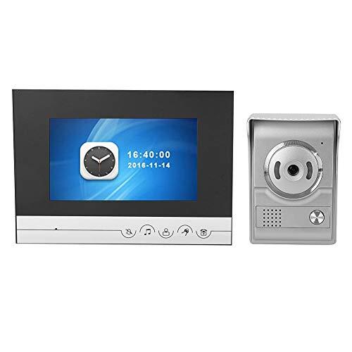 Video Doorbell, Smart TFT LCD Wire Door Phone Visual Video Doorbell Intercom Speakerphone Real-Time Video and Two-Way Talk Night Vision PIR Motion Detection