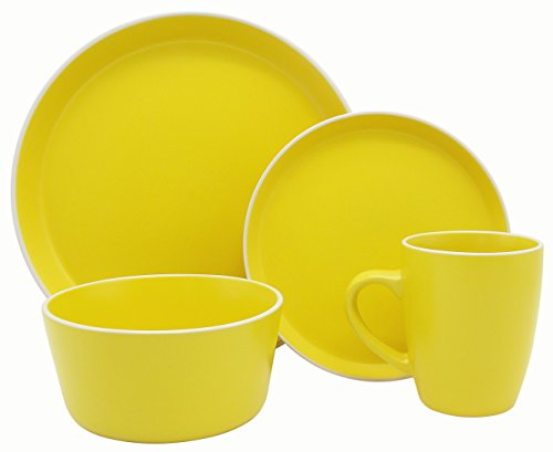 (Melange Stoneware 32-Piece Dinnerware Set (Moderno Sunflower) | Service for 8| Microwave, Dishwasher & Oven Safe | Dinner Plate, Salad Plate, Soup Bowl & Mug (8 Each))