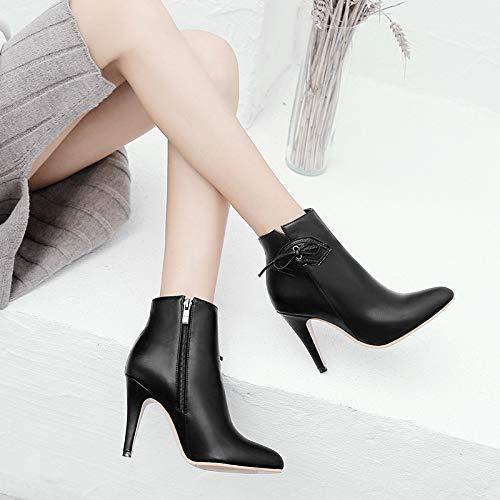 KPHY Damenschuhe Martin Stiefel Weiße Stiefel Mit Hohen Hohen Hohen 10Cm High Heels Fransen Und Scharfen Enden. 64dd84