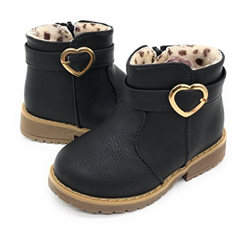 Blue Berry EASY21 Girls Fashion Cute Toddler/Infant Winter Snow Boots (5 M US Toddler, BLACK17)