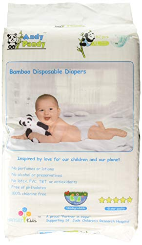 Eco Friendly Premium Bamboo Disposable Diapers by Andy Pandy - XL - for Babies Weighing 26+ lbs - 62 Count