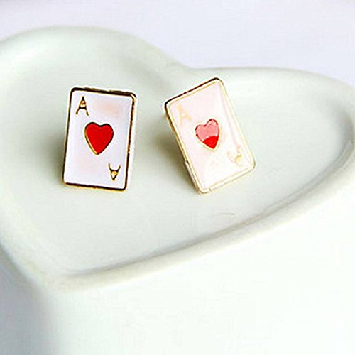Women's Poker Shape enameled earrings (One pair with Random Color)