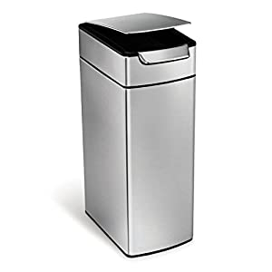 simplehuman Slim Rectangular Touch-Bar Trash Can, Stainless Steel, 40 L / 10.5 Gal