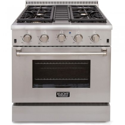 Kucht KRG3080U 30' Professional-Class Natural Gas  Gas Range with 4.2 cu. ft. Convection Oven, 4 Top Burners, Blue Porcelain Interior and High Quality Control Knobs in Stainless Steel