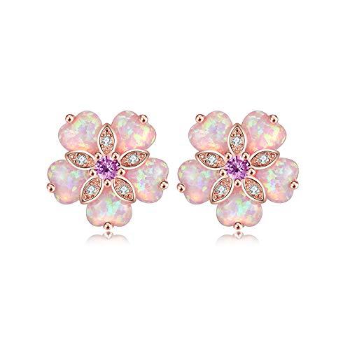 CiNily Flower Opal Stud Earring,Pink Opal 14K Rose Gold Plated Women Hypoallergenic Jewelry Gemstone Stud Earrings 15mm