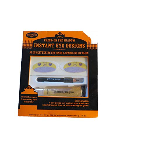 Walmart Halloween Instant Eye Designs Press on Eye Shadow, Glitterying Eye Liner, Sparkling Lip Gloss