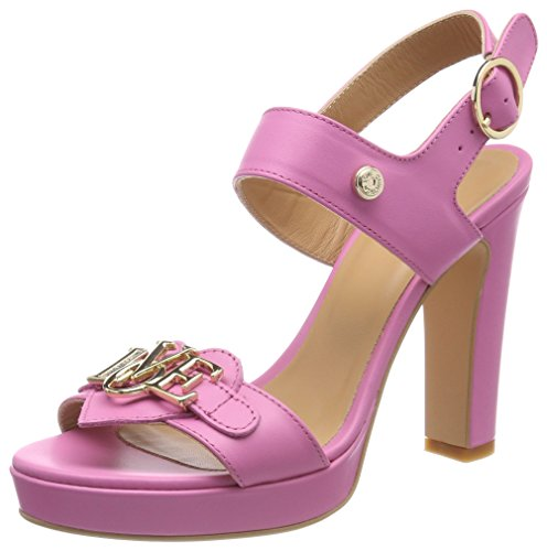 Love Moschino San.LOD.lb12/105 Vitello Rosa, Sandalias de Talón Abierto Para Mujer Rosa (Pink)