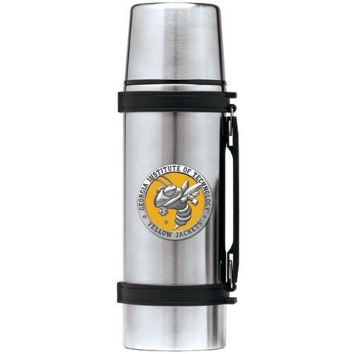 Georgia Tech Yellow Jackets Stainless Steel Thermos Mascot - Thermos Pewter Logo
