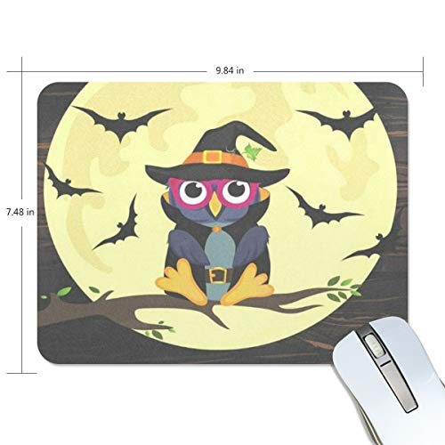Mouse Pad Halloween Owl in Witch Costume Gaming Mousepad Laptop Small Thick Mouse Mat Black Great Mouse Pads -