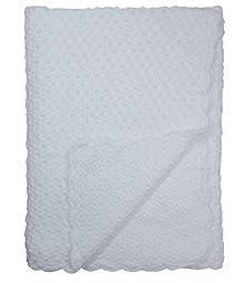 Baby Fancy Christening White Hand Crochet 100% Cotton Shawl/Blanket 34 x 30 In