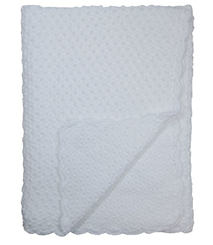 Baby Fancy Christening White Hand Crochet 100% Cotton Shawl/Blanket 34 x 30 In - Bubble Crochet Baby Blanket